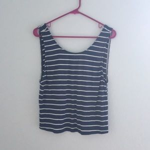 Lulu's blue and white striped, low-back tank